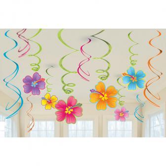"""Suspensions à spirales """"Fleurs d'hibiscus"""" 12 pcs."""