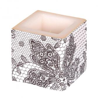 "Bougie cube ""Elegance Deluxe"" 8 cm - gris"