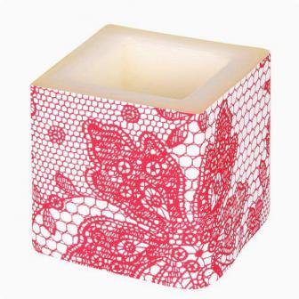 "Bougie cube ""Elegance Deluxe"" 8 cm - rouge"