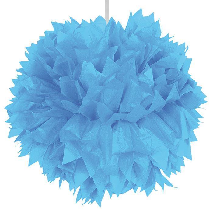D co de plafond pompon en papier cr pon 30 cm bleu - Pompon en papier crepon ...
