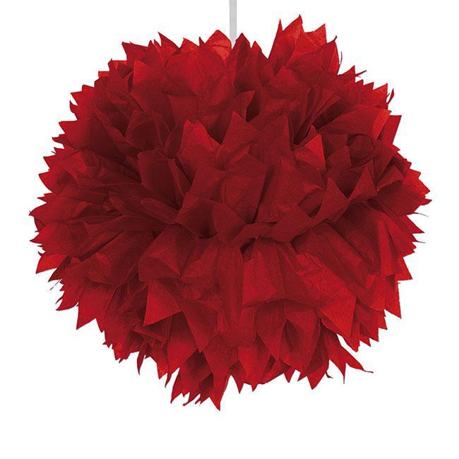 d co de plafond pompon en papier cr pon 30 cm rouge prix minis sur. Black Bedroom Furniture Sets. Home Design Ideas