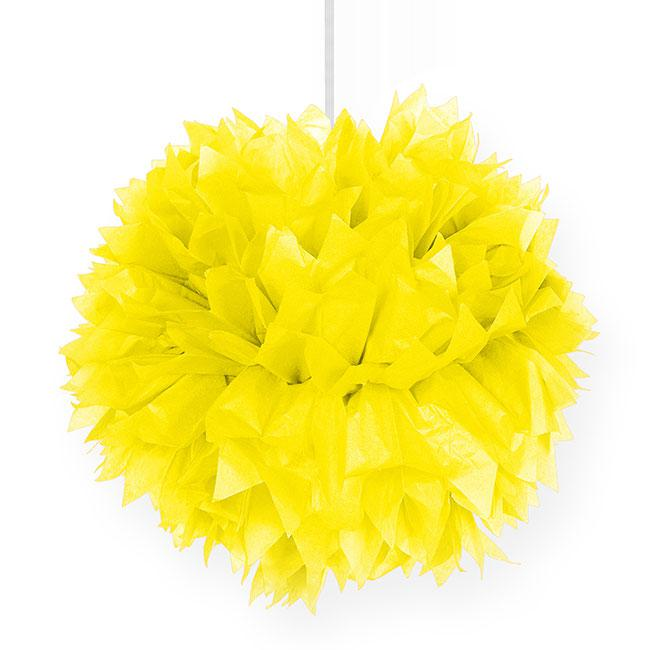 D co de plafond pompon en papier cr pon 30 cm jaune - Pompon en papier crepon ...