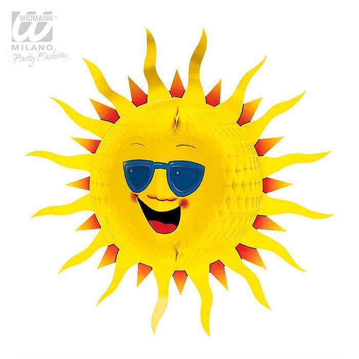 Soleil rond en papier cr pon 55 cm prix minis sur - Image soleil rigolo ...