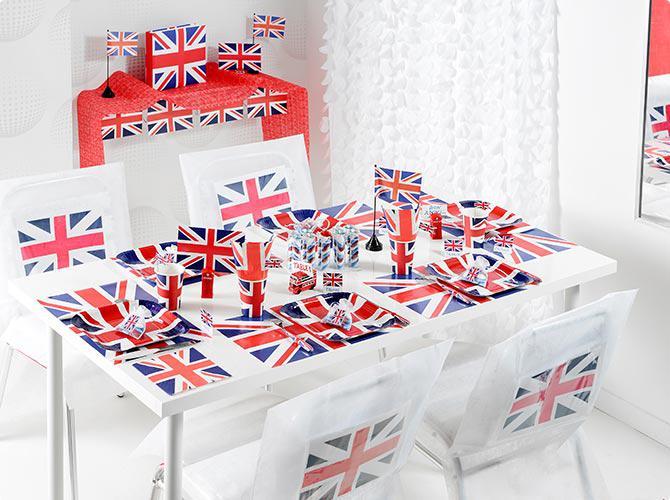 6 sets de table union jack prix minis sur. Black Bedroom Furniture Sets. Home Design Ideas