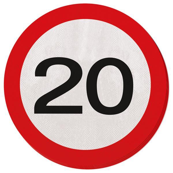 20 serviettes rondes panneau de limitation de vitesse 20 ans prix minis sur. Black Bedroom Furniture Sets. Home Design Ideas