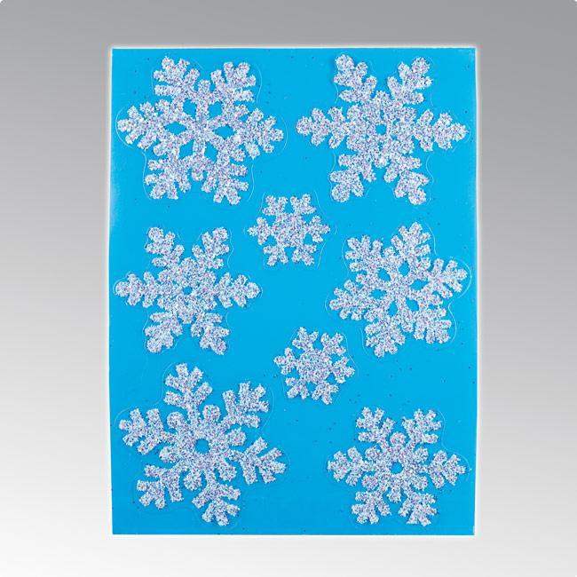 D co de fen tre autocollante flocon de neige 8 pcs for Pellicule autocollante pour fenetre
