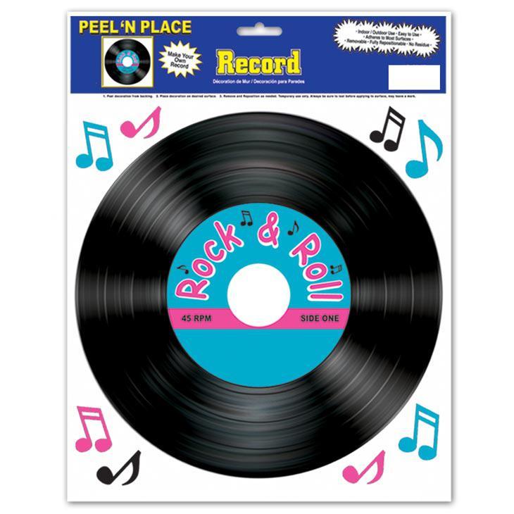 D co murale autocollante disque vinyle 9 pcs prix for Deco murale annee 80