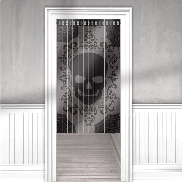d co de porte rideau franges t te de mort 165 cm prix minis sur. Black Bedroom Furniture Sets. Home Design Ideas