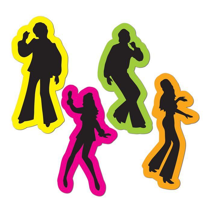 D co de salle silhouettes de danseurs ann es 70 4 pcs - Deco de table annee 70 ...