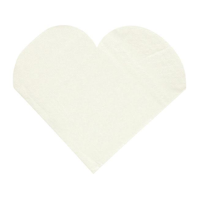 20 serviettes blanches en forme de coeur prix minis sur. Black Bedroom Furniture Sets. Home Design Ideas