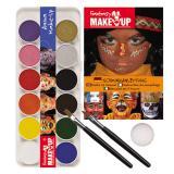 Set maquillage 12 couleurs Aqua avec pinceau, éponge & exemples 16 pcs