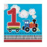 """16 Serviettes """"Petit train coloré - 1er anniversaire"""""""