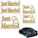 """Autocollant pour voiture """"Just Married"""" 5 pcs"""