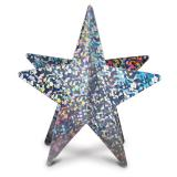 Étoile 3D en carton scintillant 30 cm - argenté