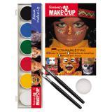 Set maquillage 6 couleurs Aqua avec pinceau, éponge & exemples 10 pcs