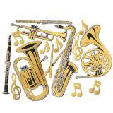 """Déco murale """"Instruments de musique en or"""" 60 cm 15 pcs"""