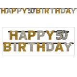 """Guirlande de lettres """"50 ans Glamour"""" Happy Birthday 2,1 m"""