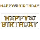 """Guirlande de lettres """"60 ans Glamour"""" Happy Birthday 2,1 m"""