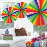 """Déco de plafond colorée """"Éventails en papier crépon"""" 45 cm"""