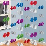 """6 suspensions colorées """"40 Ans"""" 213 cm"""