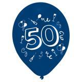 """8 ballons de baudruches multicolores """"50 ans - Party"""""""