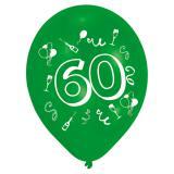 """8 ballons de baudruche colorés """"60 ans"""""""