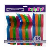 Couverts en plastique multicolores 48 pcs.