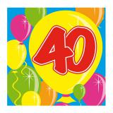 "20 serviettes Ballons ""40 ans"""