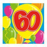 "20 Serviettes Ballons ""60 ans"""