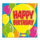 "20 Serviettes Ballons ""Happy Birthday"""