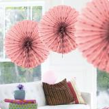 """Déco de plafond """"Éventail en papier crépon"""" 45 cm - rose"""