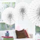 """Déco de plafond """"Éventail en papier crépon"""" 45 cm - blanc"""