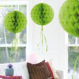 """Déco de plafond """"Balle en papier crépon"""" 30 cm - vert pomme"""