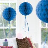 """Déco de plafond """"Balle en papier crépon"""" 30 cm - bleu"""