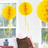 """Déco de plafond """"Balle en papier crépon"""" 30 cm - jaune"""