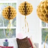 """Déco de plafond """"Balle en papier crépon"""" 30 cm - or"""