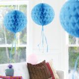 """Déco de plafond """"Balle en papier crépon"""" 30 cm - bleu clair"""