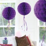 """Déco de plafond """"Balle en papier crépon"""" 30 cm - lilas"""