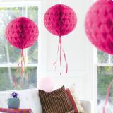 """Déco de plafond """"Balle en papier crépon"""" 30 cm - rose vif"""