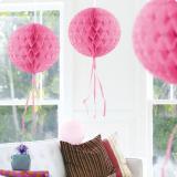 """Déco de plafond """"Balle en papier crépon"""" 30 cm - rose"""