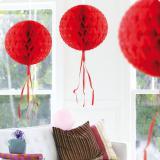 """Déco de plafond """"Balle en papier crépon"""" 30 cm - rouge"""