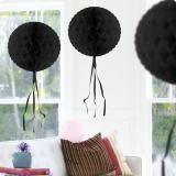 """Déco de plafond """"Balle en papier crépon"""" 30 cm - noir"""