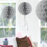 """Déco de plafond """"Balle en papier crépon"""" 30 cm - argent"""
