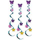 """3 suspensions """"Fleurs & papillons"""" 76 cm"""