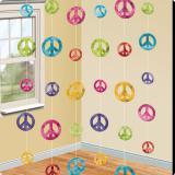 """Décos à suspendre """"Symboles de paix colorés"""" 210 cm 6 pcs"""
