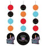 """3 suspensions """"Craies colorées"""" Happy Birthday 91,4 cm"""