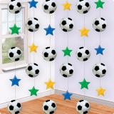 "Suspensions ""Ballon de foot & étoiles multicolores"" 213 cm 6 pcs"