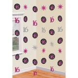 "Déco de plafond ""Girly Sweet Sixteen"" 6 pcs."