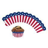 """Banderoles de déco pour muffins """"USA-Style"""" 12 pcs."""