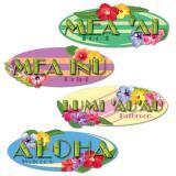 """4 panneaux décos """"Olelo-Makua Hawaï"""" 41 cm"""
